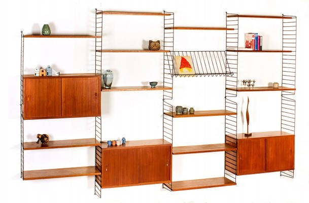 Very large wall unit in teak by Nisse & Kajsa Strinning for String Design AB