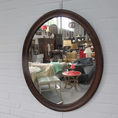 Danish mid-century oval mirror with teak frame, 1960s