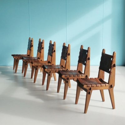 Set of 6 Ecuadorian Dinner Chairs by Angel Pazmino for Meubles de Estilo, 1960s