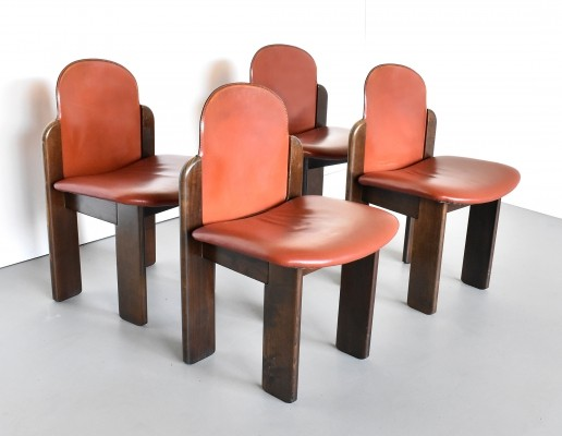 Set of 4 leather dining chairs by Silvio Coppola for Fratelli Montina, 1970s
