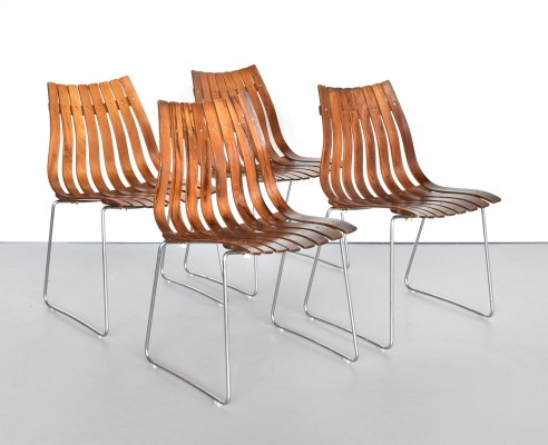 Set of 4 Scandia dinner chairs by Hans Brattrud for Hove Möbler, 1950s