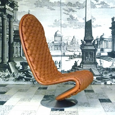 Model 'F' - De Luxe Leather Chair System 123 by Verner Panton for Fritz Hansen, 1970s