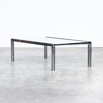 Glass 'M1' coffee table in stainless steel frame for Metaform, 1970s