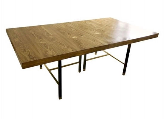 Harvey Probber Extendable Dining Table With Oak Top & Black Metal Frame