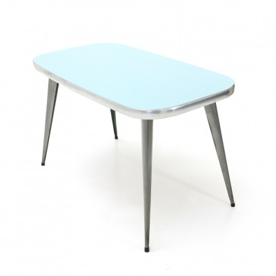 Italian mid century dining table with azure formica top, 1950s