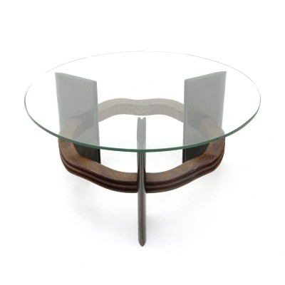 Italian mid century coffee table with glass top by Vittorio Valabrega, 1930s