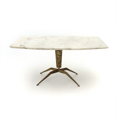 Italian coffee table with marble top & brass base, 1950s