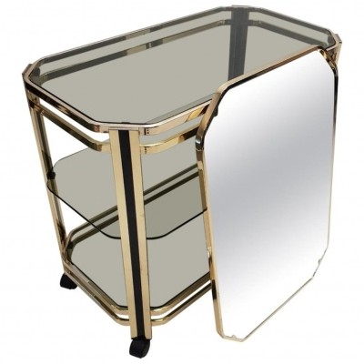 Brass 3-tiers serving trolley with original mirror
