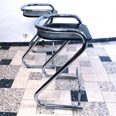 Pair of Steel-Tube Stools by Börge Lindau & Bo Lindekrantz for Lammhults, 1960s