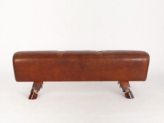 Vintage Leather Gymnastics Bench Pommel Horse, 1930s