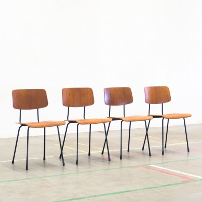 Set of 4 Model 1262 dining chairs by André Cordemeyer for Gispen, 1960s