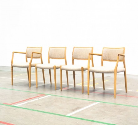 Set of 4 Model 65 + Model 80 dinner chairs by Niels Otto Møller for JL Møller Møbelfabrik, 1960s