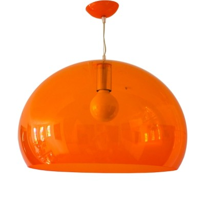 Space Age Bubble Pendant in Translucent Orange, France 1970s