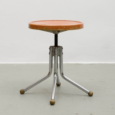 Tubular Steel & Wooden Stool, 1930s