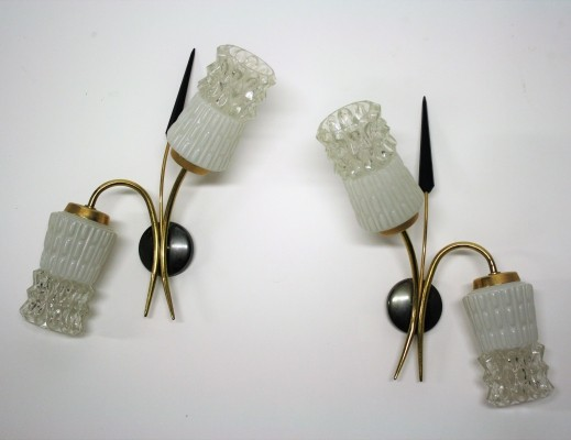 Pair of vintage wall lights with glass, 1960s