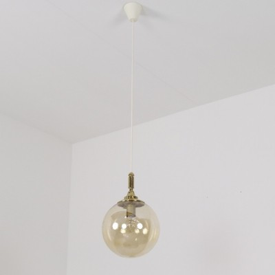 Brass & bubble glass hanging lamp, 1970s