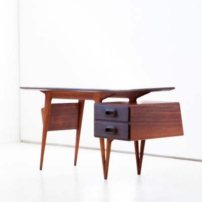 Italian rosewood writing desk with magazine rack by Silvio Cavatorta, 1950s