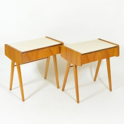 Set of 2 bedside tables from 1970s with formica top, Czechoslovakia