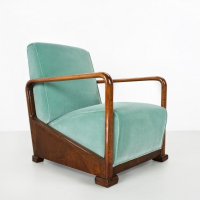 Art deco armchair in felt on a solid elm wooden frame, 1930s Holland