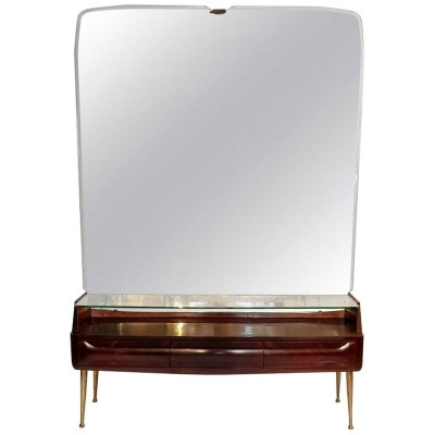 Midcentury Console Mirror Table with Spider Legs by Vittorio Dassi, Italy