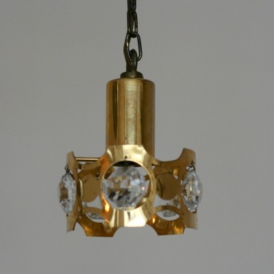 Brass Crystal Glass Swedish Pendant Light, 1960s