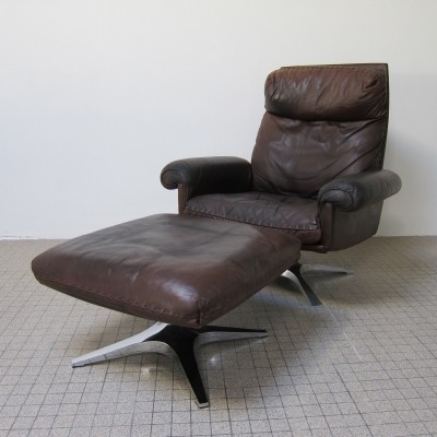 Vintage leather de Sede ds 31 highback lounge chair + matching ottoman, 1970s
