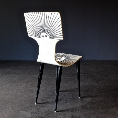 Sole dining chair by Piero Fornasetti for Fornasetti Milano, 1980s