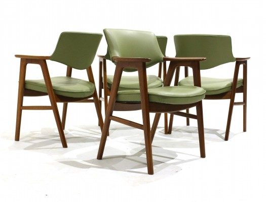 Set of 4 Teak & leather armchairs by Erik Kirkegaard