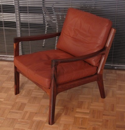 Rare Rosewood Edition Senator Chair With Original Leather By Ole Wanscher