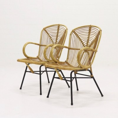 Set of 2 Mid Century Rattan Side Chairs, 1950s