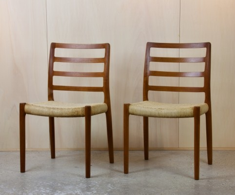 Two 'No. 85' dining room chairs by Niels Otto Møller in teak & papercord, 1960s