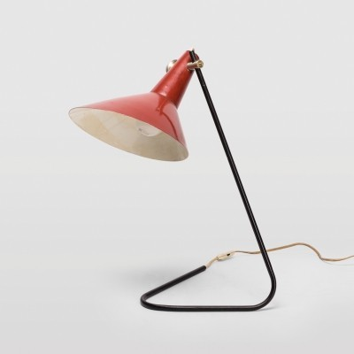 Red metal lamp by Kovona NP, Czechoslovakia 1950s