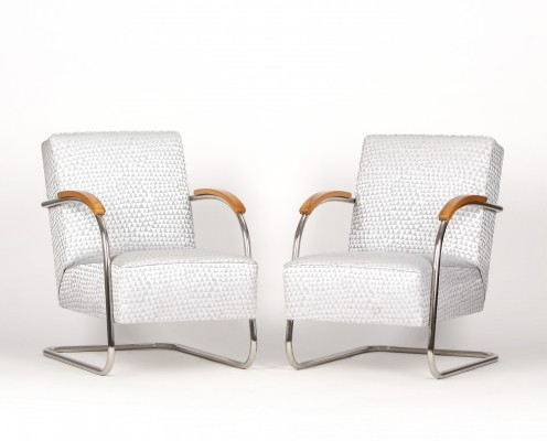 Pair of Tubular Steel Armchairs from Mücke-Melder, 1930s