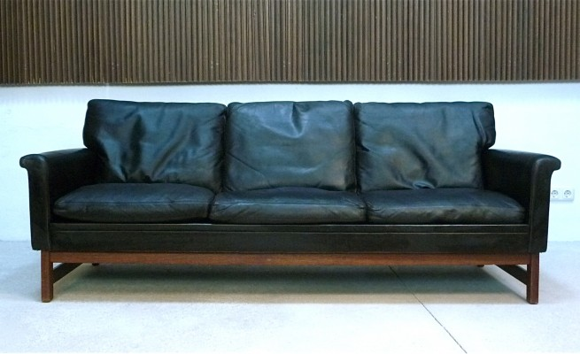 Danish Three-Seater Leather & Teak Sofa, 1960s