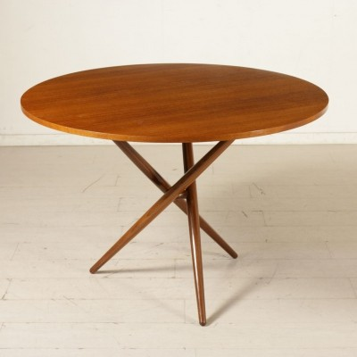 Table by Jurg Bally in Teak Veneer & Stained Beech, 1960s