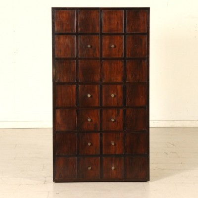 Chest of Drawers in Walnut Veneer & Brass, 1940s