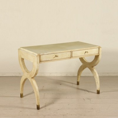 Writing Desk in Wood & Parchment Paper, 1950s