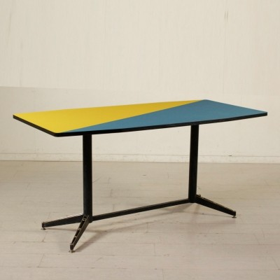 Table in Lacquered Metal & Formica, Italy 1950s-1960s