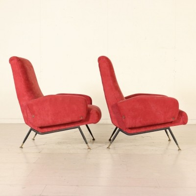 Pair of Armchairs with Foam Padding & Fabric, Italy 1950s-1960s