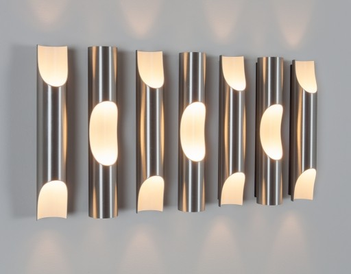 8 x Fuga wall lamp by Maija Liisa Komulainen for Raak Amsterdam, 1970s