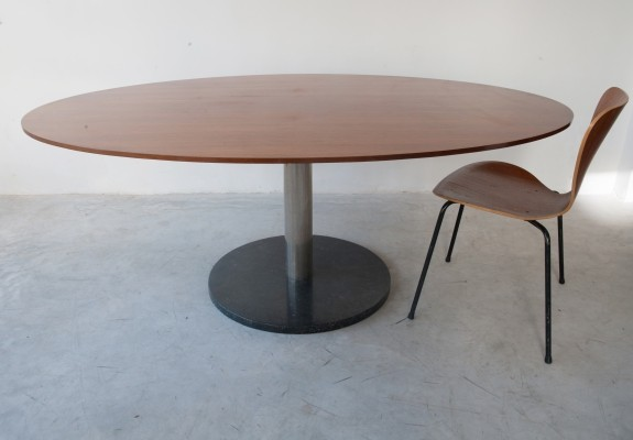 Alfred Hendrickx Oval Shaped Walnut Dining Table, Belgium Design 1962