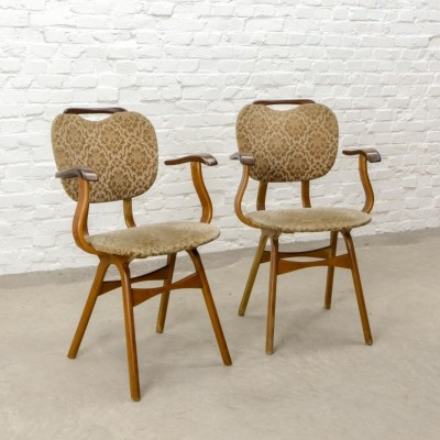 Pair of Curved Teak Wood Scandinavian Design Dining Side Chairs, 1960s