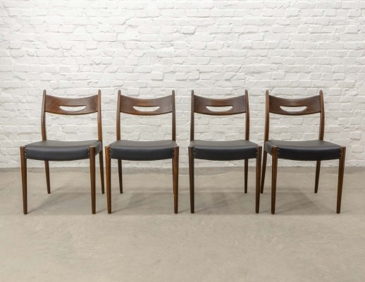 Set of Four Solid Teak Wood & Black Leatherette Dining Chairs, 1960s