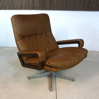 Leather 'King' Lounge Chair by André Vandenbeuck for Strässle, 1960s