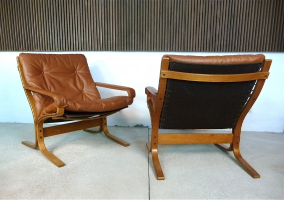 Siesta Leather & Teak Easy Chairs by Ingmar Relling for Westnofa, 1960s