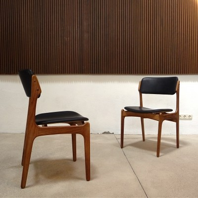 Model 49 Danish Leather Chairs by Erik Buch for O.D. Møbler, 1960s