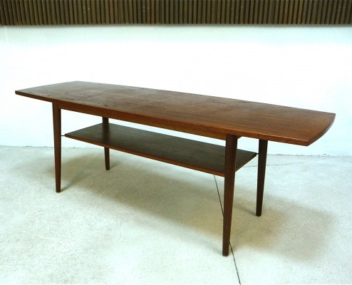 Large Danish Boat-Shaped Table Top Teak Coffee Table, 1960s