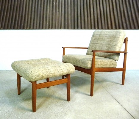Danish Teak & Wool Easy Chair & Ottoman by Grete Jalk for Cado, 1960s