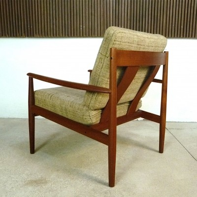 Danish Teak & Wool Easy Chair by Grete Jalk for Cado, 1960s