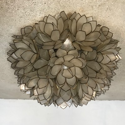 Large Floral Mother of Pearl German Ceiling / Wall Lamp by Rausch, 1960s